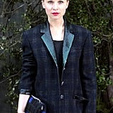 Clémence Poésy doubled up on her dark plaids at Chanel, donning an embellished-lapel blazer and checkered chain-strap bag together.