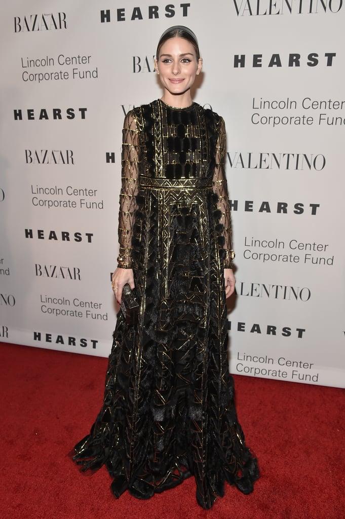 Olivia Palermo Wearing Gold Valentino Dress | POPSUGAR Fashion