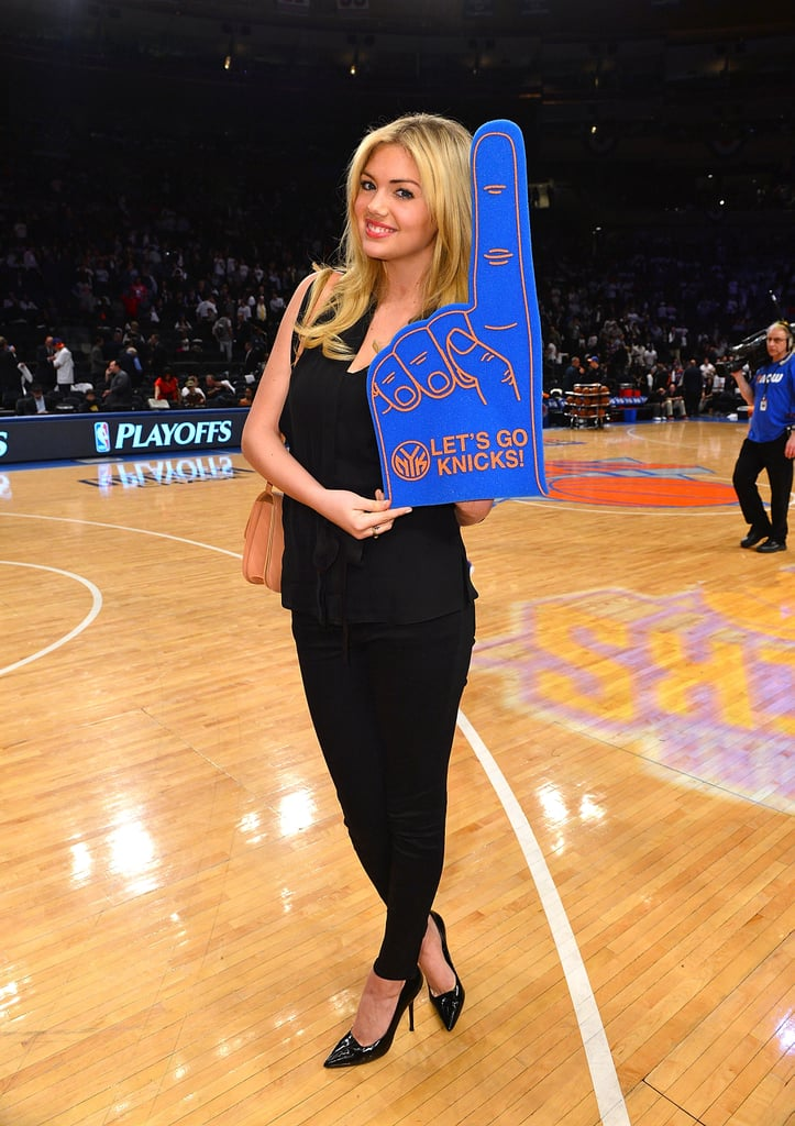 Kate Upton sported a foam finger to support the NY Knicks as they played the Miami Heat in May 2012.