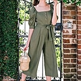 Gal Meets Glam Collection Sylvie Puff-Sleeve Linen Blend Jumpsuit