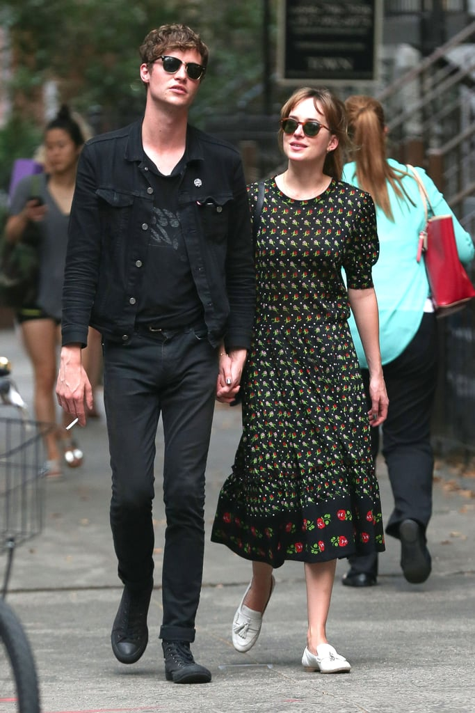 Dakota Johnson walked around with her boyfriend, Matthew Hitt, in NYC on Wednesday, the day before the Fifty Shades of Grey trailer was released.