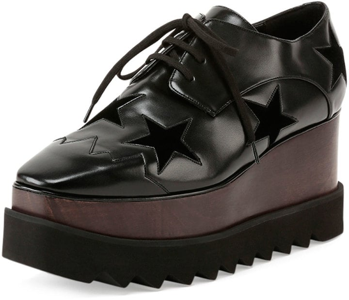 Stella McCartney Elyse Stars Faux-Leather Platform Creeper, Black ($1,080)