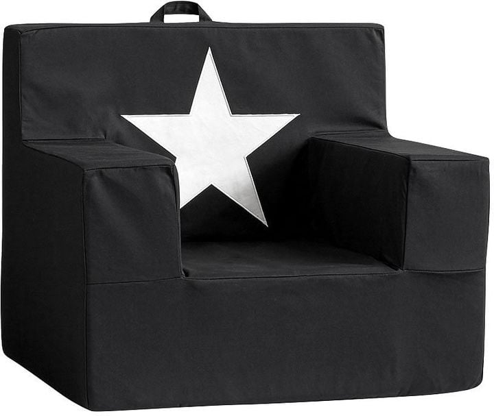 Pottery Barn Kids Black with Star Icon Square Chair