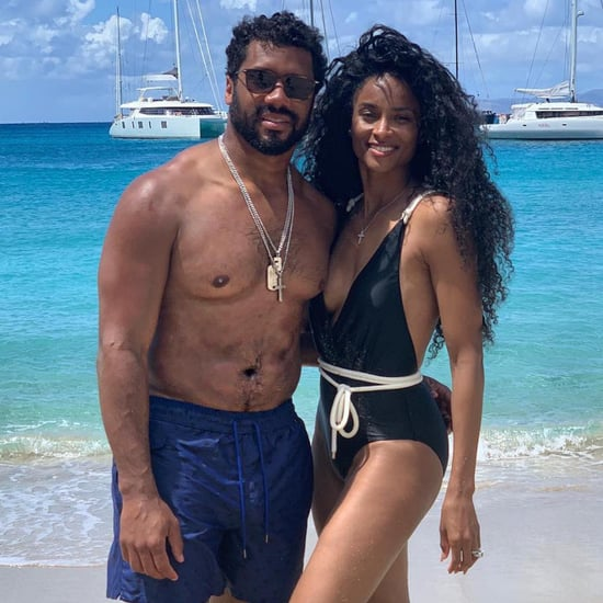 Ciara's Black One-Piece Swimsuit With Rope Belt March 2019