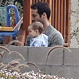 Benjamin Millepied at a park with Aleph.