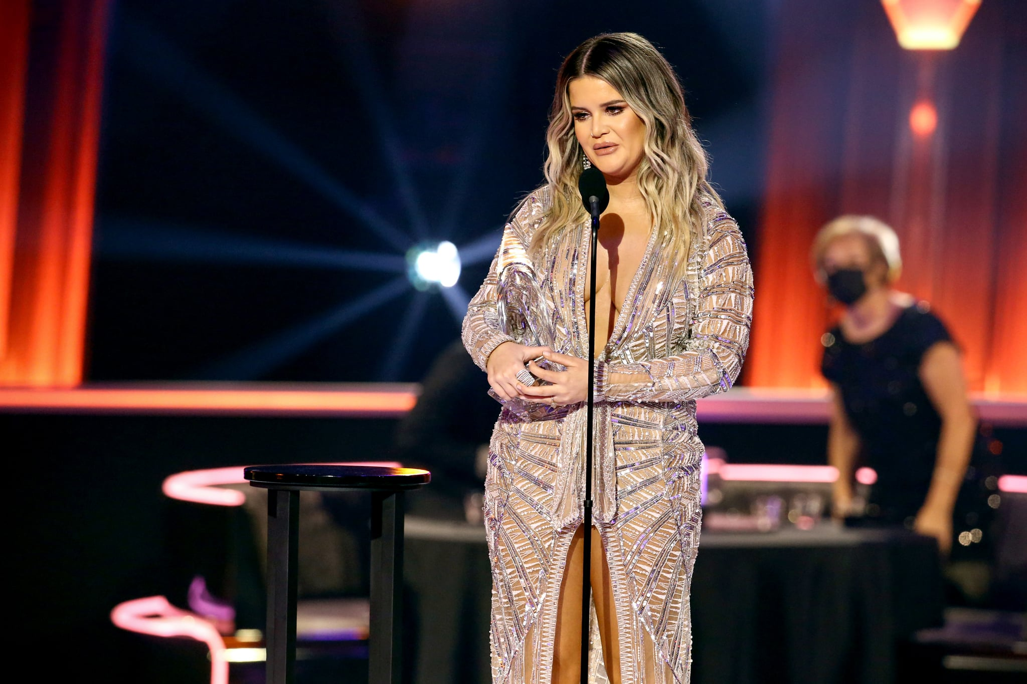 NASHVILLE, TENNESSEE - NOVEMBER 11: (FOR EDITORIAL USE ONLY) Maren Morris accepts an award onstage during the The 54th Annual CMA Awards at Nashville's Music City Centre on Wednesday, November 11, 2020 in Nashville, Tennessee.  (Photo by Terry Wyatt/Getty Images for CMA)