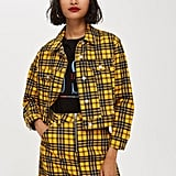 Yellow Check Denim Jacket and Skirt