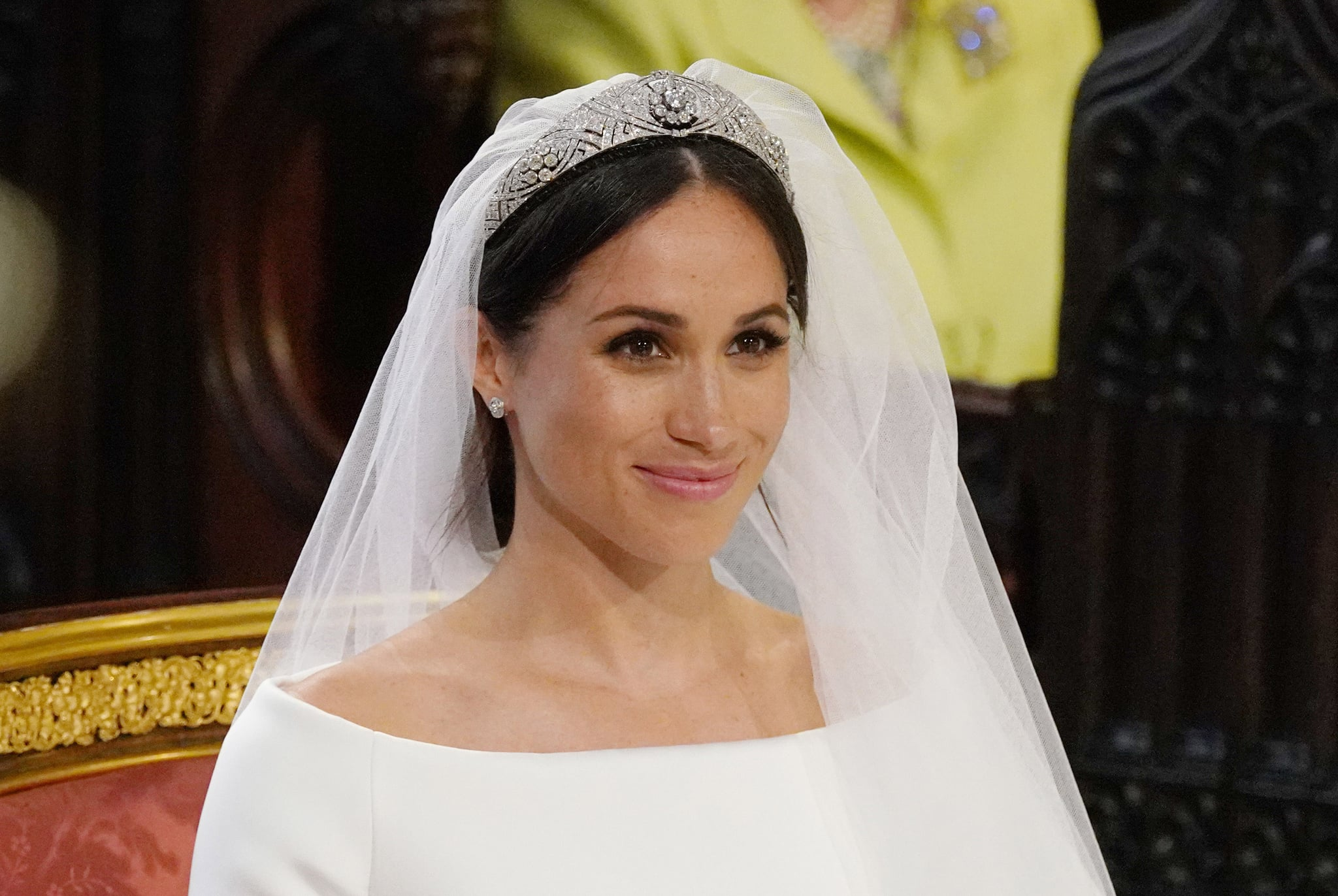 WINDSOR, UNITED KINGDOM - MAY 19: Meghan Markle stands at the altar during her wedding in St George