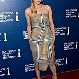 Diane Kruger chose a plaid Carven dress for the Hollywood Foreign Press Association's 2013 Installation Luncheon in LA.