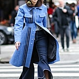 With a bold coat that's as bold as your boldest jeans