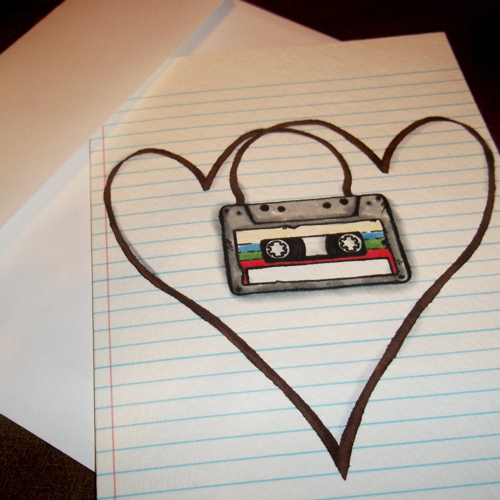 Honor the glory days of the mix tape with this sweet lo-fi card ($5).
