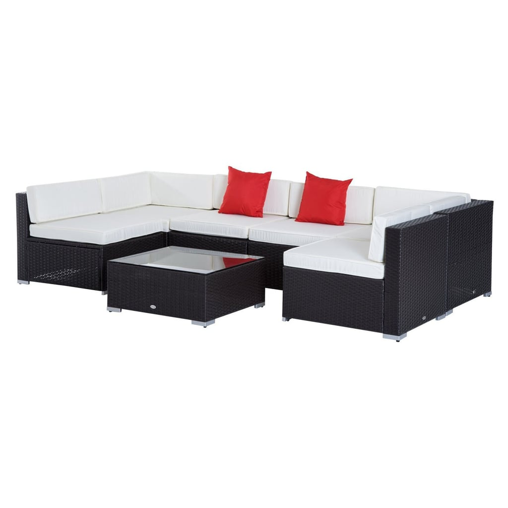 Outsunny Rattan Wicker 7-Piece Sectional Patio Conversation Set