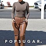 Kim Kardashian Wearing Brown Leather Pants in Malibu