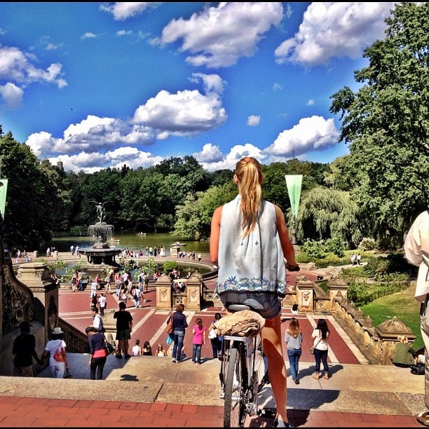 Bar Refaeli overlooked Central Park fountain on a beautiful sunny day. Source: Instagram user barrefaeli