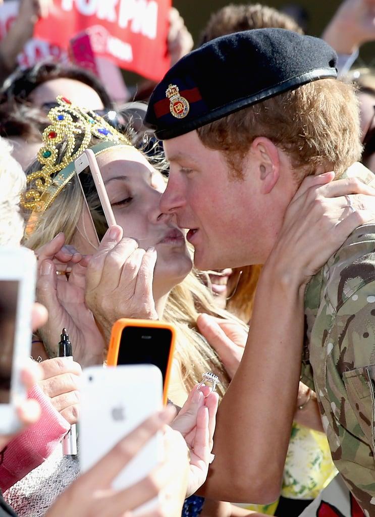 Prince Harry Gets a Kiss on the Lips From Australian Fan