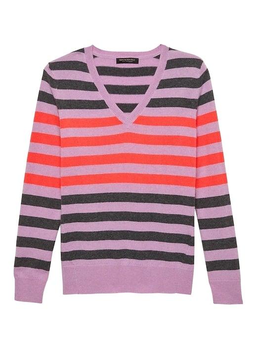 Cashmere Striped V-Neck Sweater