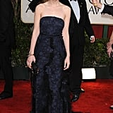 Carey Mulligan had a dark princess moment, complete with dazzling diamond headwear, in a navy-and-black tulle creation by Nina Ricci at the 2010 Golden Globes in Beverly Hills, CA.