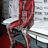 """Heidi Klum made an entrance as a """"Visible Woman"""" to her own Halloween party in Las Vegas in 2011."""