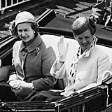 Queen Margrethe of Denmark and Queen Elizabeth II, 1980