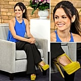 Rachel Bilson shows off a brilliant cobalt-and-canary color combo to steal.
