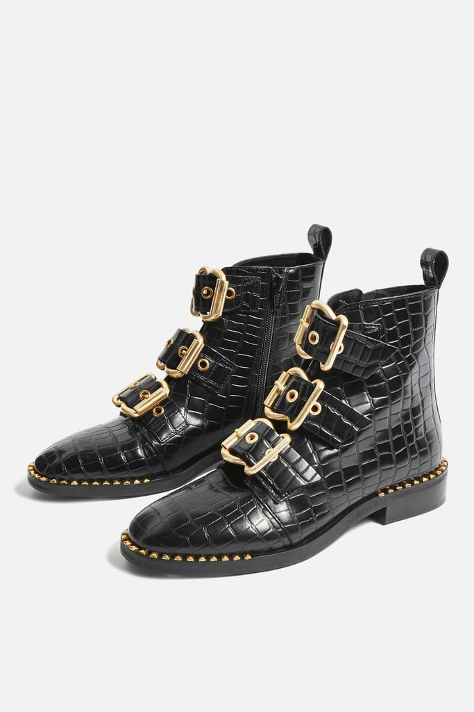Alfie Crocodile Effect Ankle Boots (£62)