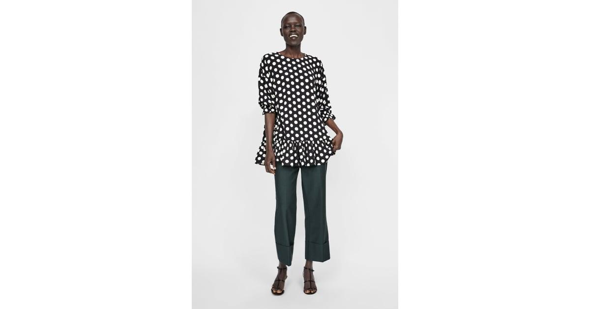 0f01f022c0060 Zara Polka Dot Oversized Blouse With Ruffles