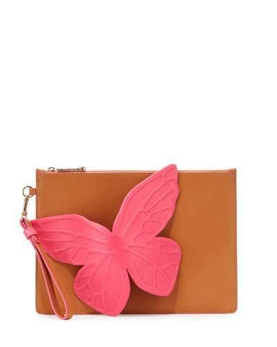 Go for a superfeminine look with Sophia Webster's Flossy Butterfly Leather Pouch Bag, Tan Magenta ($395).