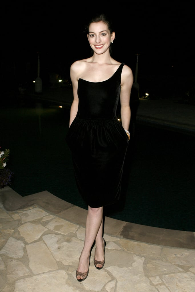 February 2007 at the Giorgio Armani Prive in LA in a sleek one-shouldered cocktail frock.