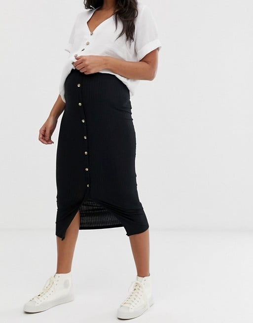 New Look Maternity button front rib midi skirt in black | ASOS