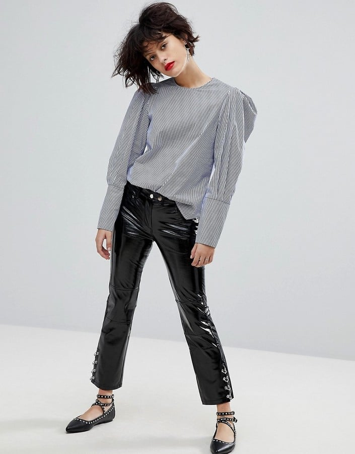 Mango Zip Detail Faux Leather Pants