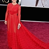 Sally Field stepped out in a red Valentino gown for the Oscars.