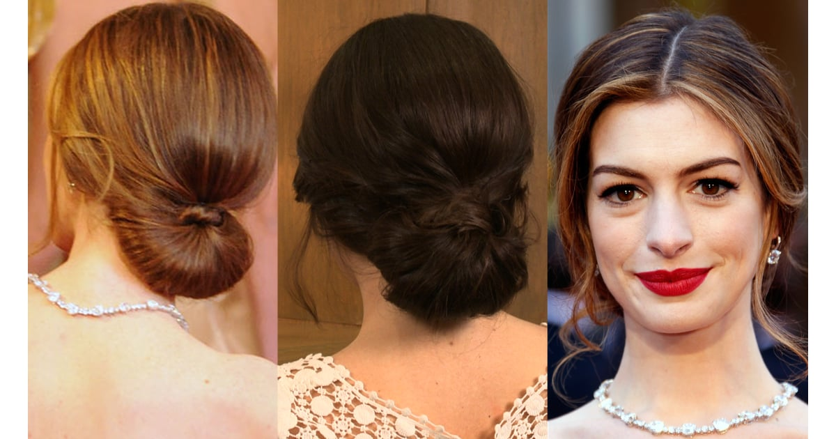 How to Get Anne Hathaway\'s Oscars Red-Carpet Low Bun Hairstyle ...
