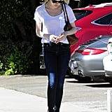 Emma Stone made her way to her car after getting her hair done in LA.
