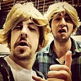 One of my favorite costumes so far is courtesy Christopher Mintz-Plasse and Nicholas Braun, who dressed as SNL's Californians. Source: Instagram user mintzplasse