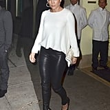 Jennifer Lopez looked to a studded white clutch for the finishing touch on her casual night-out look.