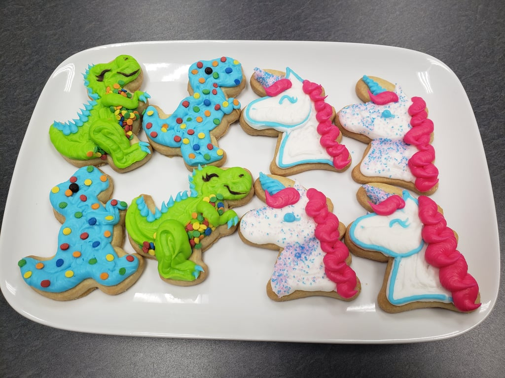 Sam's Club is offering parents a lifeline in the form of a super easy — and sweet! — indoor activity for little kids: unicorn and dinosaur cookie decorating kits. The premade kits, which come with 20 sugar cookies, three bags of icing for easy piping, and toppings, are available for a limited time at your local club for just $6 (yes, you read that right), so snag them while you can. Keep scrolling to order your kits for pickup — they'd make for the perfect after-school activity, weekend DIY, or just because treat!      Related:                                                                                                           It's Party Time! 57 Creative First Birthday Party Ideas