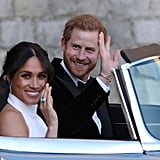 "Of course, the duo didn't simply walk to Frogmore House for the reception — they arrived to the party in style, rolling up in an old-school, light-blue Jaguar. Meghan flashed a smile at the cameras and showed off her ""something blue,"" an eye-catching, square gemstone ring that belonged to Princess Diana. It perfectly coordinated with the sky-colored hue of the car, if we do say so ourselves."