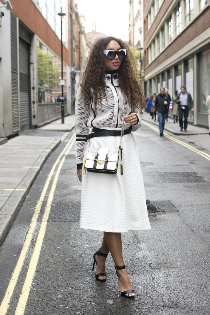 Big sunnies and an even bigger skirt