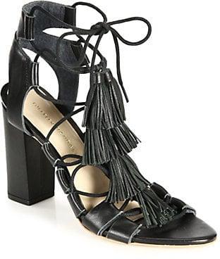 Loeffler Randall Tasseled Lace-Up Leather Sandals ($395)