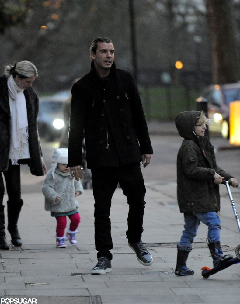 Gavin Rossdale watched after son Kingston as he scootered around London.