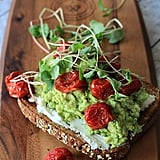 Mashed Avocado, Goat Cheese Sandwich With Roasted Cherry Tomatoes