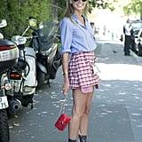 Pair a Plaid Skirt With a Button-Down Shirt