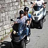 George Clooney and Stacy Keibler enjoyed scooting in Lugano, Switzerland.