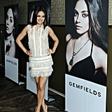Mila Kunis celebrated her ambassadorship to Gemfields jewelry in LA.
