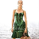 A vibrant green corset dress and power tote bag go hand-in-hand in Bottega Veneta's Spring campaign. Source: Fashion Gone Rogue