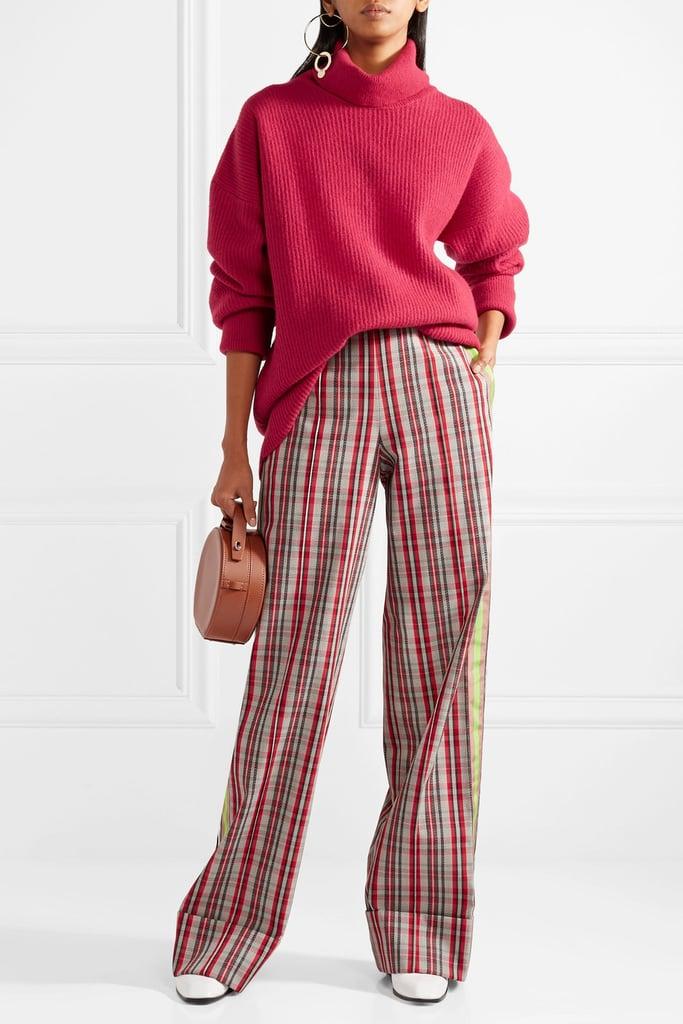 Grosgrain-trimmed Checked Canvas Wide-leg Pants - Red Diane Von Fürstenberg sJ1gnbIpKs
