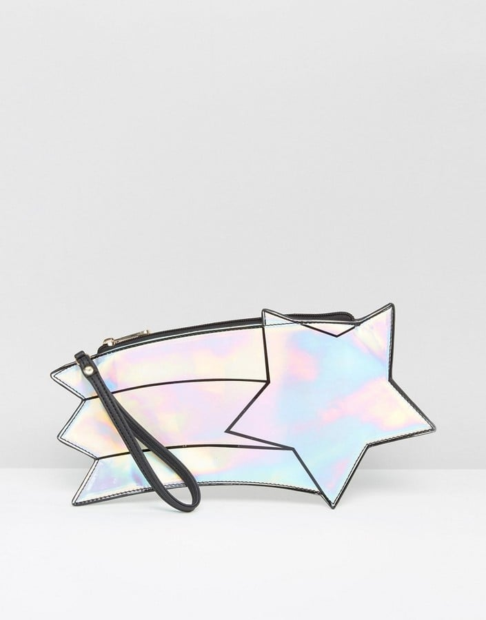 Daisy Street Holographic Shooting Star Clutch Bag