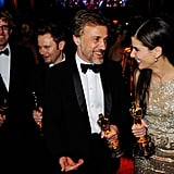 She and Christoph Waltz shared congratulatory smiles following their Oscar wins at the March 2010 Academy Awards in LA.