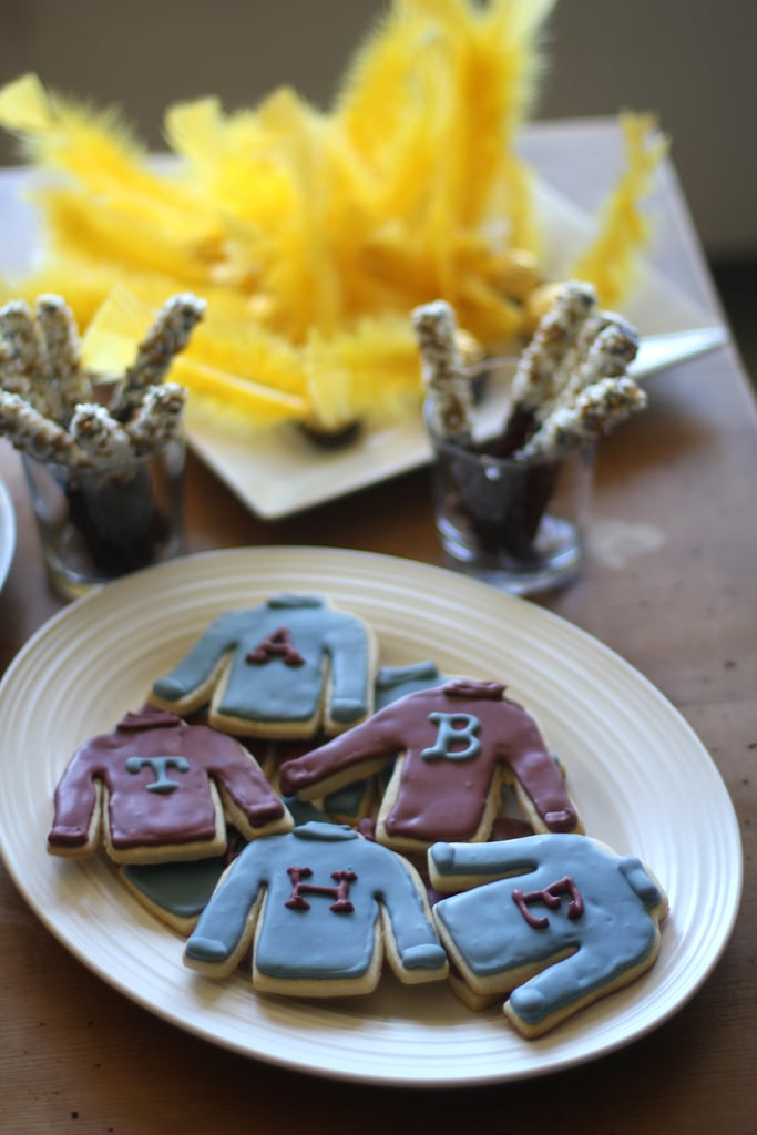 Serve these Mrs. Weasley ugly Christmas sweater cookies.