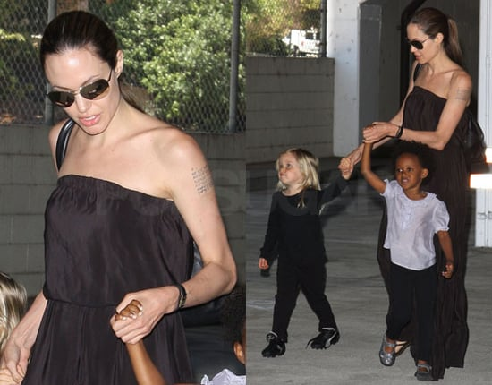 Photos of Angelina Jolie Taking Zahara and Shiloh to Dance Class